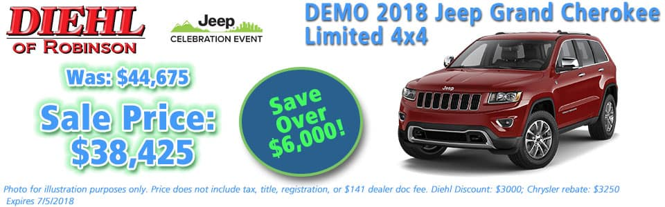 NEW 2018 JEEP GRAND CHEROKEE LIMITED 4X4 Diehl of Robinson Township, Pittsburgh Pennsylvania. Chrysler Jeep Dodge Ram dealership.