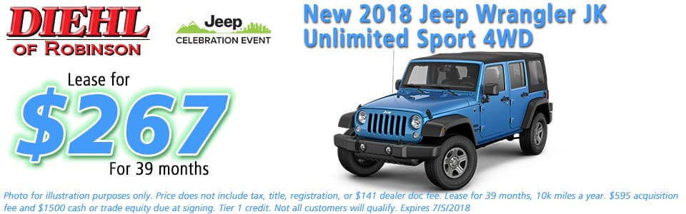 NEW 2018 JEEP WRANGLER JK UNLIMITED SPORT 4X4 diehl of robinson robinson township pa 15136 chrysler jeep dodge ram