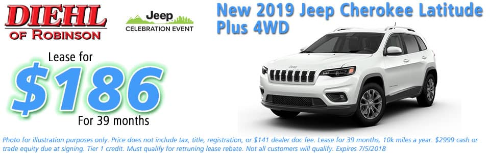 NEW 2019 JEEP CHEROKEE LATITUDE PLUS 4X4 diehl of robinson robinson township pa 15136 chrysler jeep dodge ram
