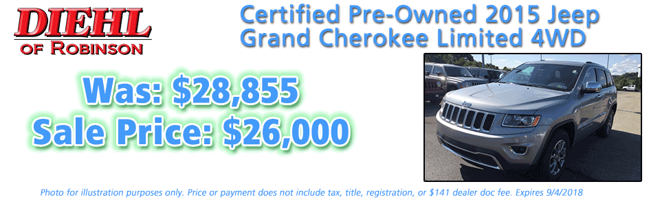 17J0920A-2015-GR.-CHEROKEE-Pre-owned specials vehicle specials used specials Diehl of Robinson Robinson Township 15136 Chrysler Dodge Jeep Ram