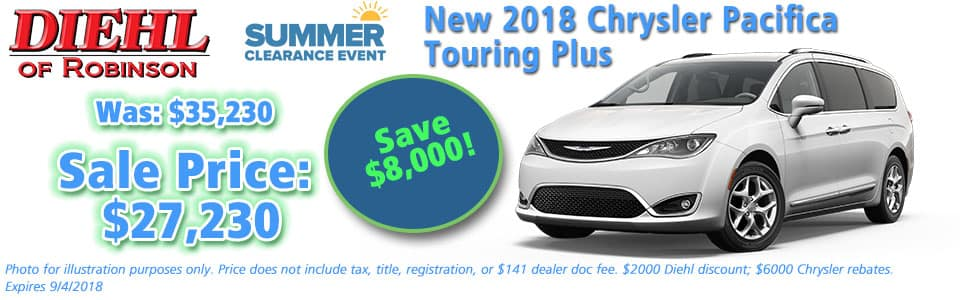 Diehl of Robinson, Robinson Twp, PA Chrysler Dodge Jeep Ram New and Used Sales, service, parts accessories NEW 2018 CHRYSLER PACIFICA TOURING PLUS