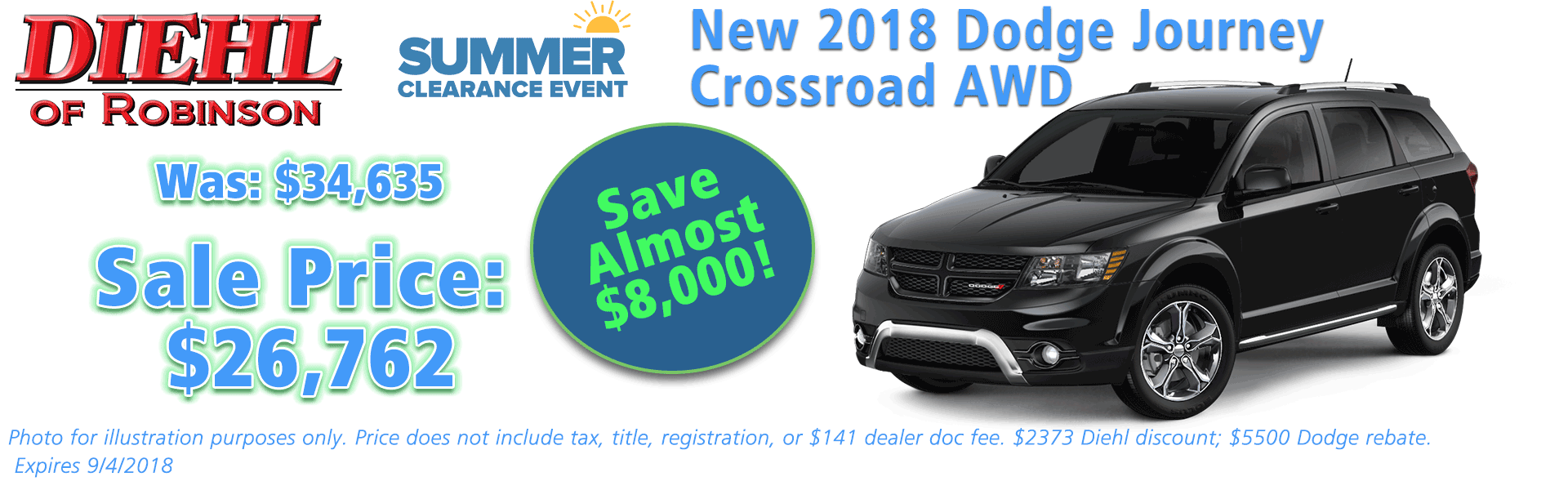Diehl of Robinson, Robinson Twp, PA Chrysler Dodge Jeep Ram New and Used Sales, service, parts accessories NEW 2018 DODGE JOURNEY CROSSROAD AWD