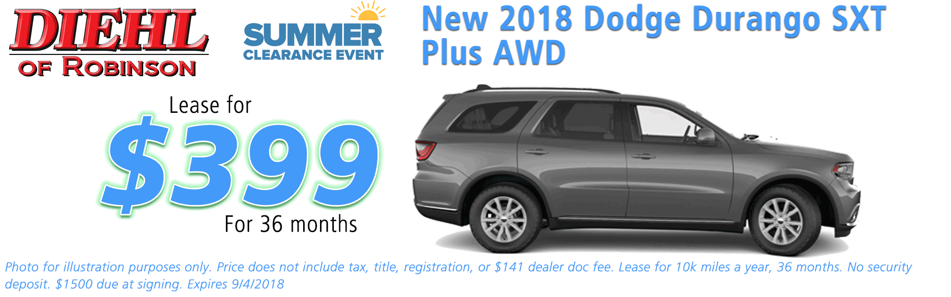 Diehl of Robinson, Robinson Twp, PA Chrysler Dodge Jeep Ram New and Used Sales, service, parts accessories NEW 2018 DODGE DURANGO SXT PLUS AWD