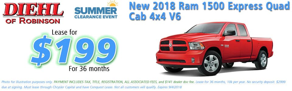"Diehl of Robinson Chrysler Dodge Jeep Ram Robinson Township PA 15136 NEW 2018 RAM 1500 EXPRESS QUAD CAB® 4X4 6'4"" BOX"