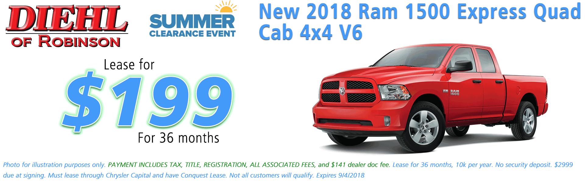 Diehl of Robinson Chrysler Dodge Jeep Ram Robinson Township PA 15136 NEW 2018 RAM 1500 EXPRESS QUAD CAB® 4X4 6'4