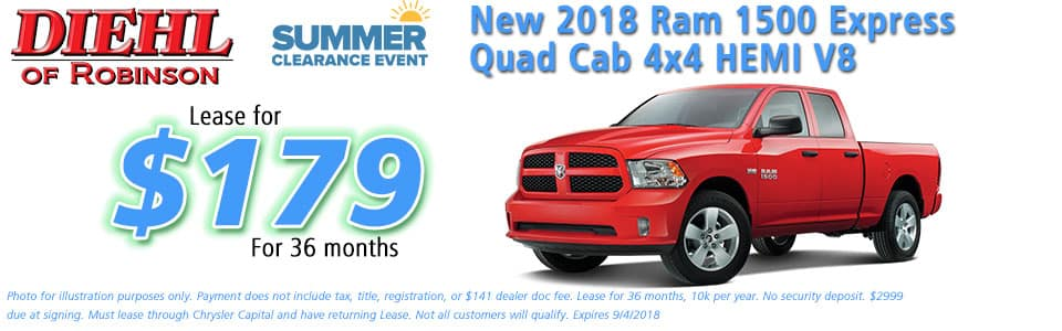 """Diehl of Robinson, Robinson Twp, PA Chrysler Jeep Dodge Ram sales service parts and accessories NEW 2018 RAM 1500 EXPRESS QUAD CAB 4X4 6'4"""" BOX"""