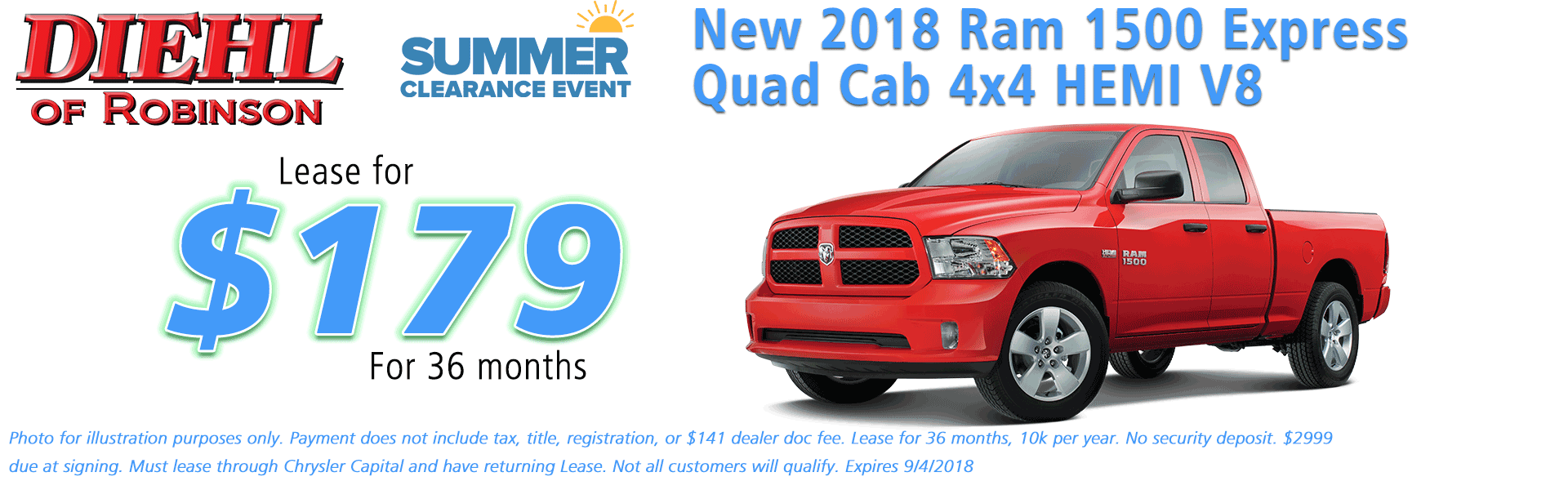 Diehl of Robinson, Robinson Twp, PA Chrysler Jeep Dodge Ram sales service parts and accessories NEW 2018 RAM 1500 EXPRESS QUAD CAB 4X4 6'4