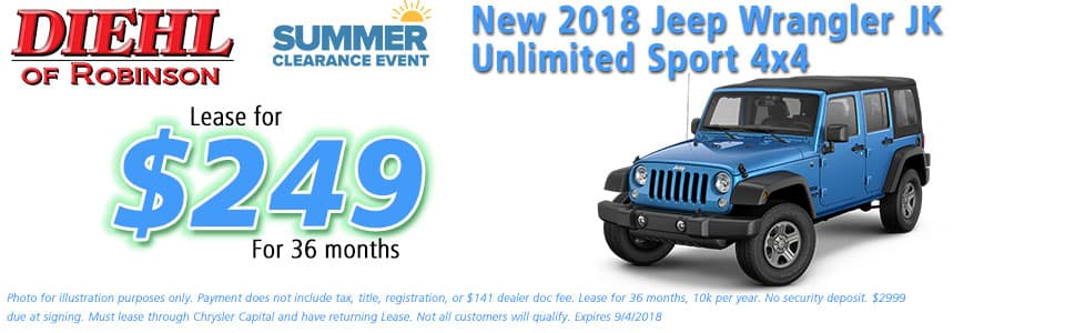 Diehl of Robinson, Robinson Twp, PA Chrysler Jeep Dodge Ram sales service parts and accessories NEW 2018 JEEP WRANGLER JK UNLIMITED SPORT 4X4
