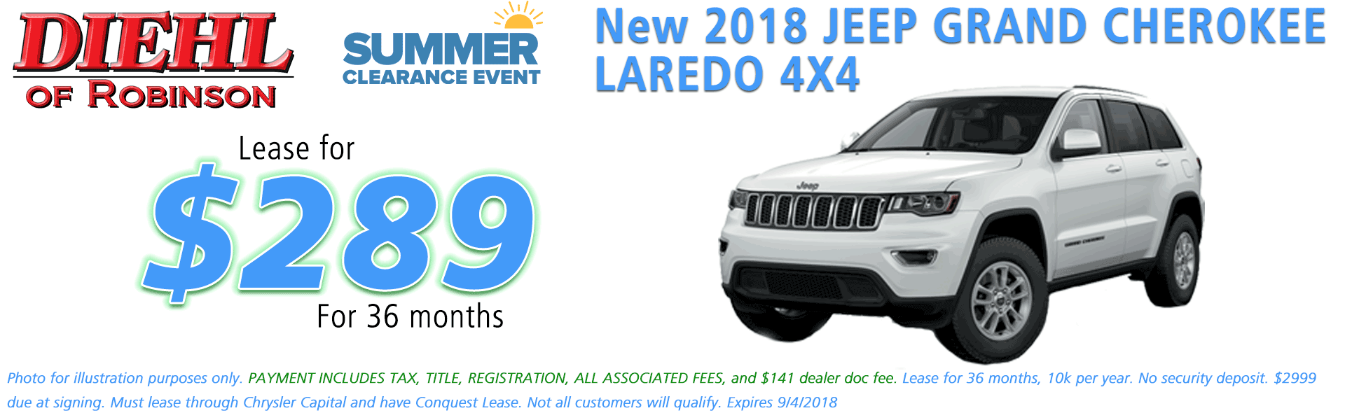 Diehl of Robinson Chrysler Dodge Jeep Ram Robinson Township PA 15136 NEW 2018 JEEP GRAND CHEROKEE LAREDO E 4X4