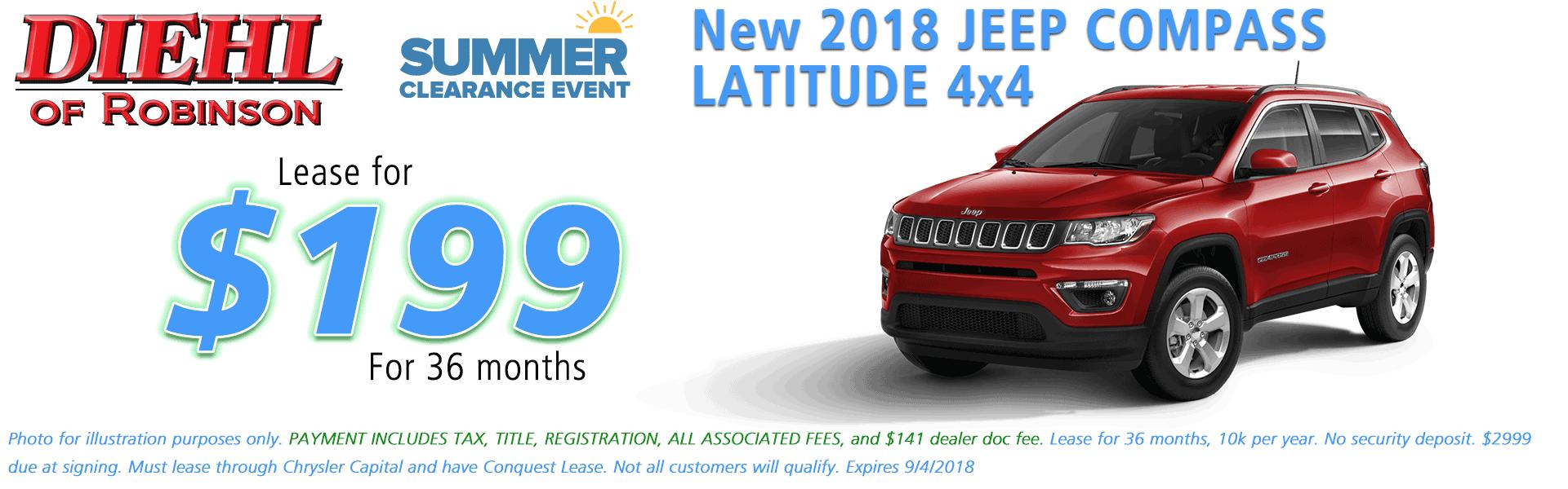 Diehl of Robinson Chrysler Dodge Jeep Ram Robinson Township PA 15136 NEW 2018 JEEP COMPASS LATITUDE 4X4