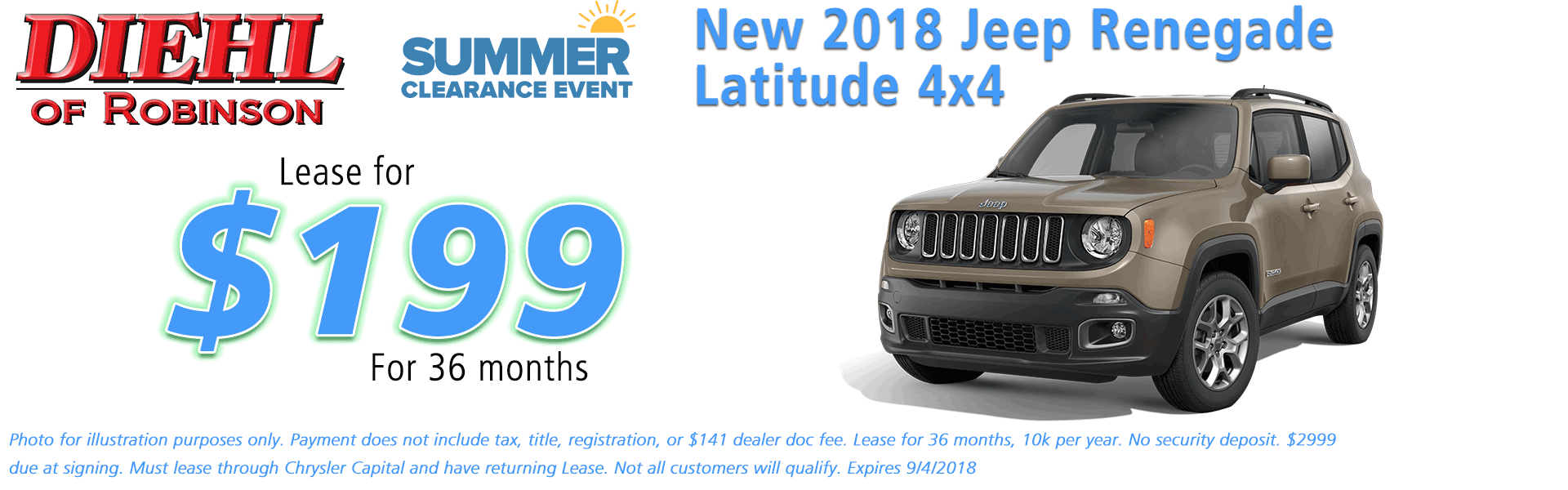 Diehl of Robinson, Robinson Twp, PA Chrysler Jeep Dodge Ram sales service parts and accessories NEW 2018 JEEP RENEGADE LATITUDE 4X4