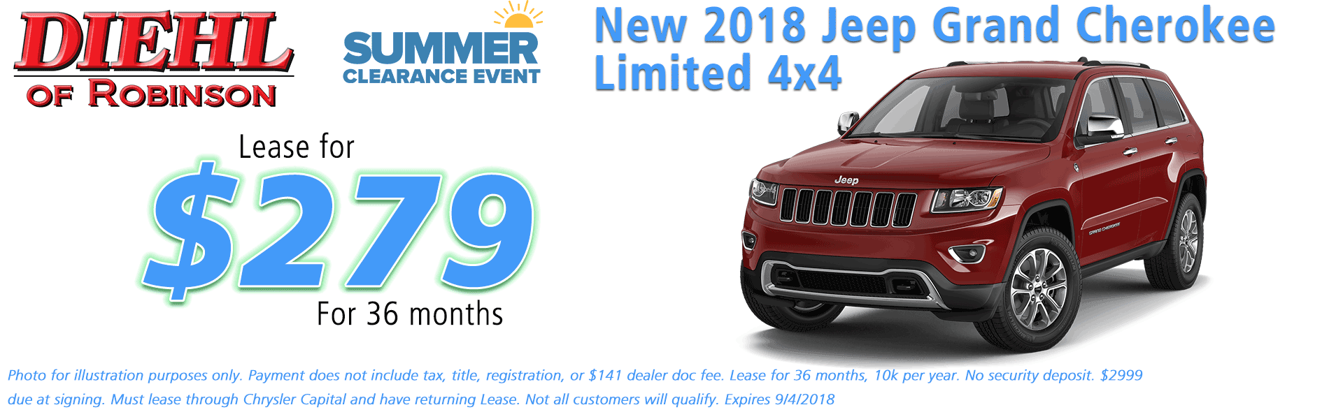 Diehl of Robinson, Robinson Twp, PA Chrysler Jeep Dodge Ram sales service parts and accessories NEW 2018 JEEP GRAND CHEROKEE LIMITED 4X4