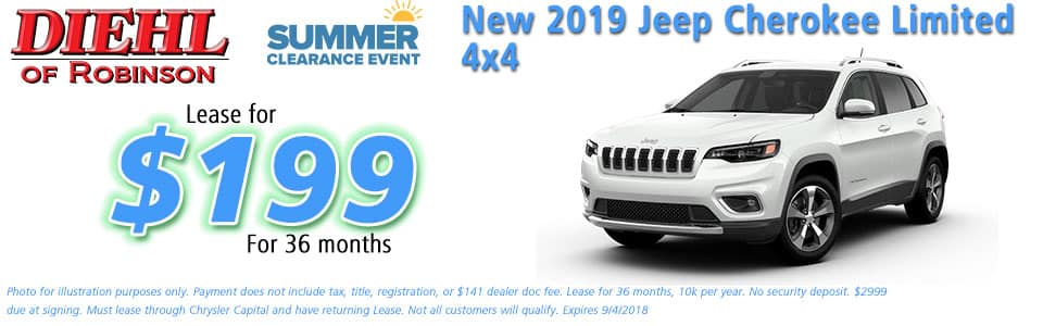 Diehl of Robinson, Robinson Twp, PA Chrysler Jeep Dodge Ram sales service parts and accessories NEW 2019 JEEP CHEROKEE LIMITED 4X4