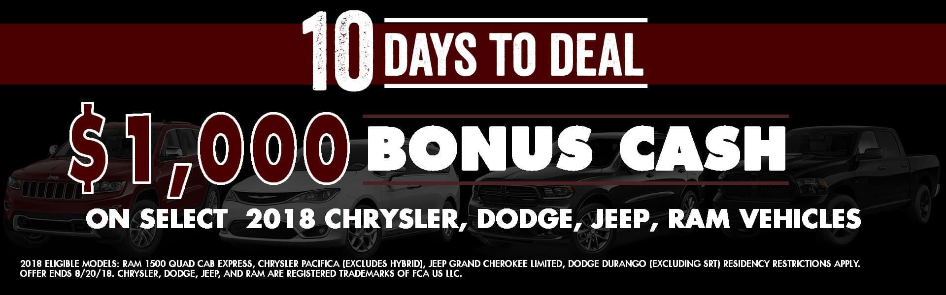 10 days to deal Chrysler dodge jeep ram Diehl of Robinson Robinson Twp, PA Ram, Durango, Pacifica, Grand Cherokee