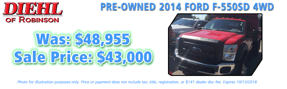 Diehl of Robinson Robinson Township, PA Chrysler Jeep Dodge Ram New and Preowned sales PRE-OWNED 2014 ford f-550sd 4wd work truck dump trump PRE-OWNED SPECIALS USED CAR SPECIALS