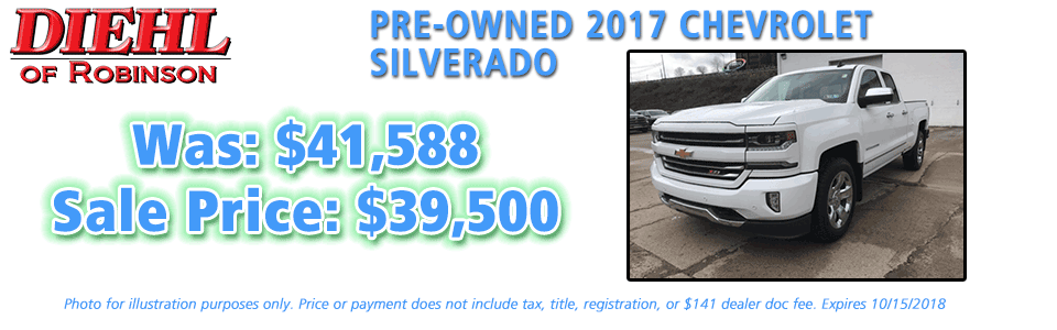 Diehl of Robinson Robinson Township, PA Chrysler Jeep Dodge Ram New and Preowned sales PRE-OWNED 2017 CHEVROLET SILVERADO PRE-OWNED SPECIALS USED CAR SPECIALS