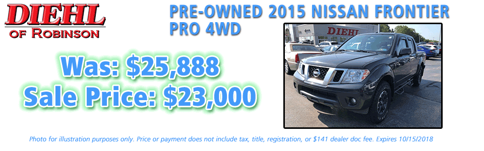 pre-owned specials preowned specials used specials diehl automotive diehl of robinson robinson township 6181 Steubenville Pike, McKees Rocks, PA 15136 certified pre-owned 2015 nissan frontier pro 4wd