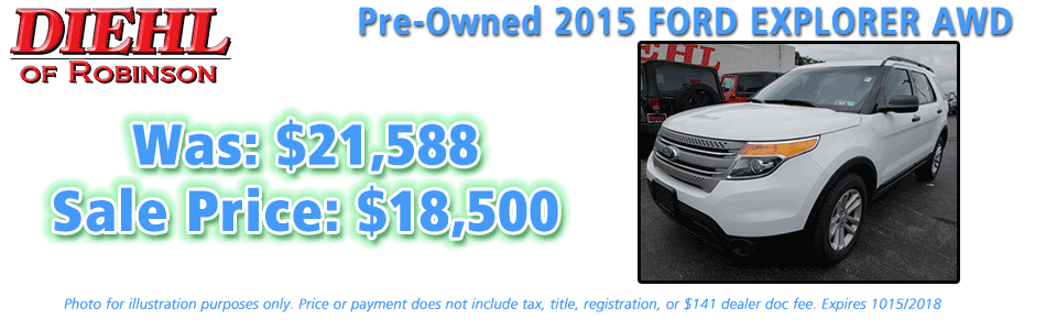 pre-owned specials preowned specials used specials diehl automotive diehl of robinson robinson township 6181 Steubenville Pike, McKees Rocks, PA 15136 pre-owned 2015 ford explorer awd