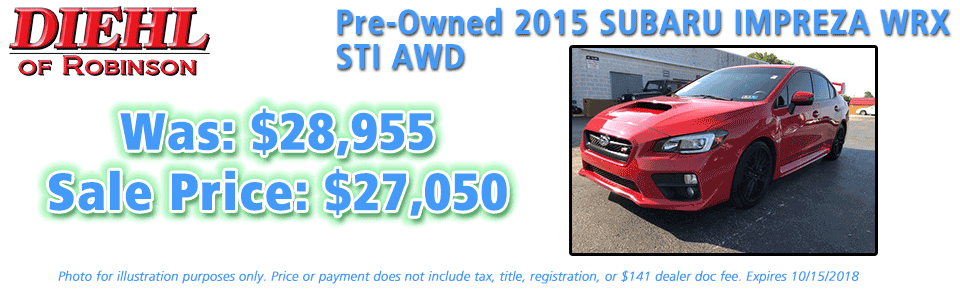 pre-owned specials preowned specials used specials diehl automotive diehl of robinson robinson township 6181 Steubenville Pike, McKees Rocks, PA 15136 certified pre-owned 2015 subaru impreza wrx sti awd