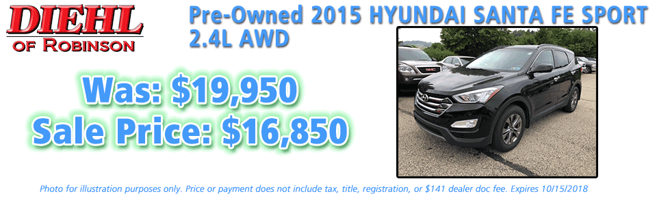 pre-owned specials preowned specials used specials diehl automotive diehl of robinson robinson township 6181 Steubenville Pike, McKees Rocks, PA 15136 pre-owned 2015 hyundai santa fe sport 2.4l awd