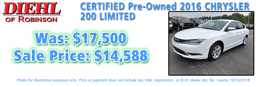 pre-owned specials preowned specials used specials diehl automotive diehl of robinson robinson township 6181 Steubenville Pike, McKees Rocks, PA 15136 certified pre-owned 2016 chrysler 200 limited