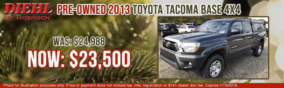 pre-owned vehicle specials used vehicle specials pre-owned specials robinson specials toyota specials 19J1017A-2013-TOYOTA-TACOMA big finish event year end sale