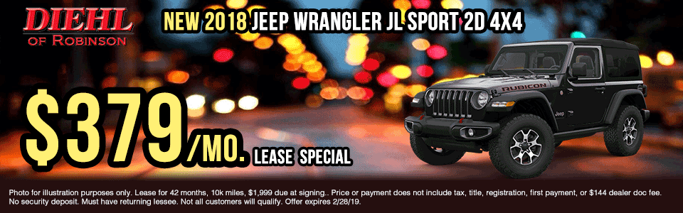 18J1147-2018-jeep-wrangler-jl-sport-2d presidents day sales event Ram truck month new vehicle specials ram specials diehl specials diehl Chrysler dodge jeep ram of Robinson diehl of Robinson Diehl Automotive diehl Robinson chrysler specials jeep specials dodge specials truck specials lease specials