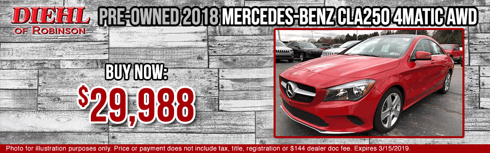 18J1151A-pre-owned-2018-mercedes-benz-cla250-awd- pre-owned vehicle specials used specials used vehicle specials diehl of robinson diehl automotive diehl auto