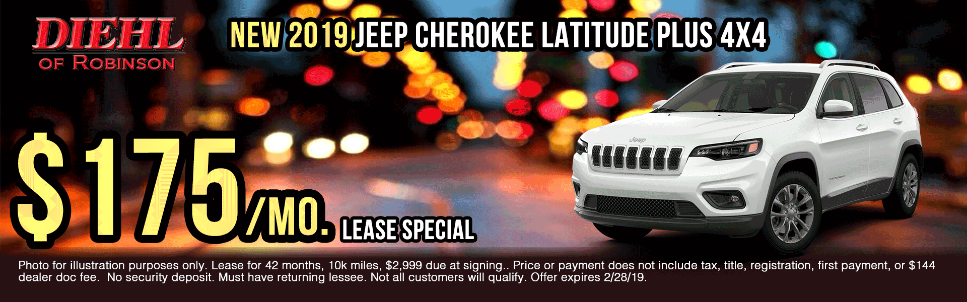 19J0111-2019-jeep-cherokee-latitue-plus-4x4 presidents day sales event Ram truck month new vehicle specials ram specials diehl specials diehl Chrysler dodge jeep ram of Robinson diehl of Robinson Diehl Automotive diehl Robinson chrysler specials jeep specials dodge specials truck specials lease specials