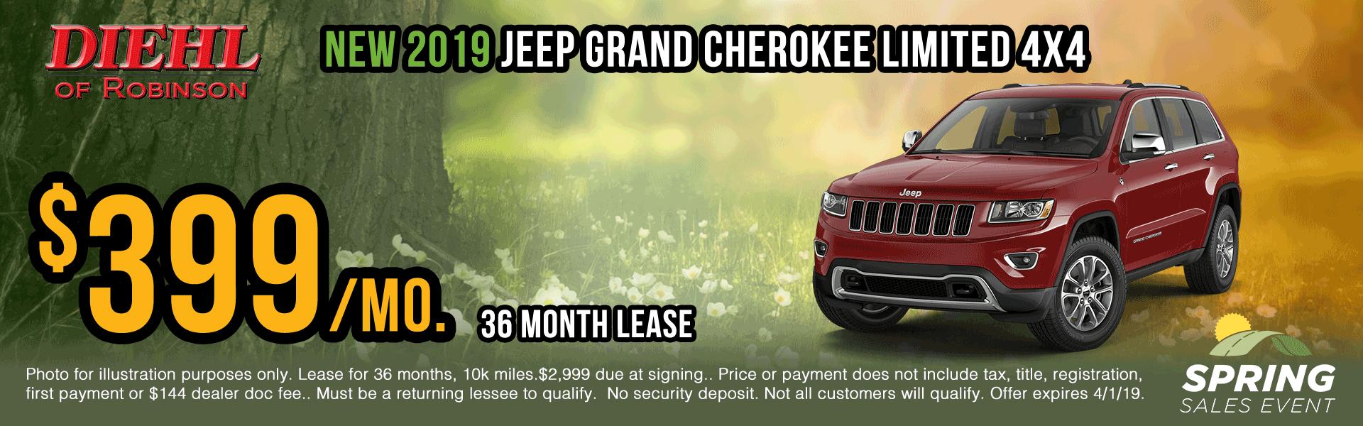 19J1049-2019-jeep-grand-cherokee-limited lease specials Spring sales event jeep specials Chrysler specials ram specials dodge specials mopar specials new vehicle specials Diehl automotive Diehl Robinson Diehl of Robinson specials