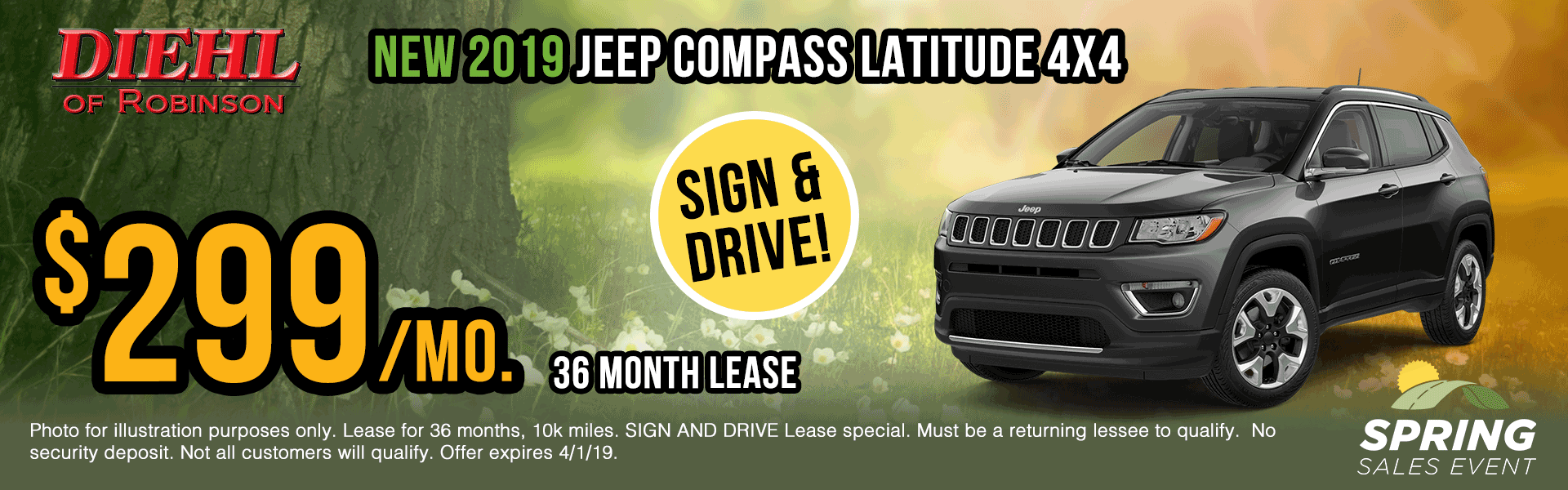 19J1057-2019-jeep-compass-latitude Spring sales event jeep specials Chrysler specials ram specials dodge specials mopar specials new vehicle specials Diehl automotive Diehl Robinson Diehl of Robinson specials sign and drive lease specials