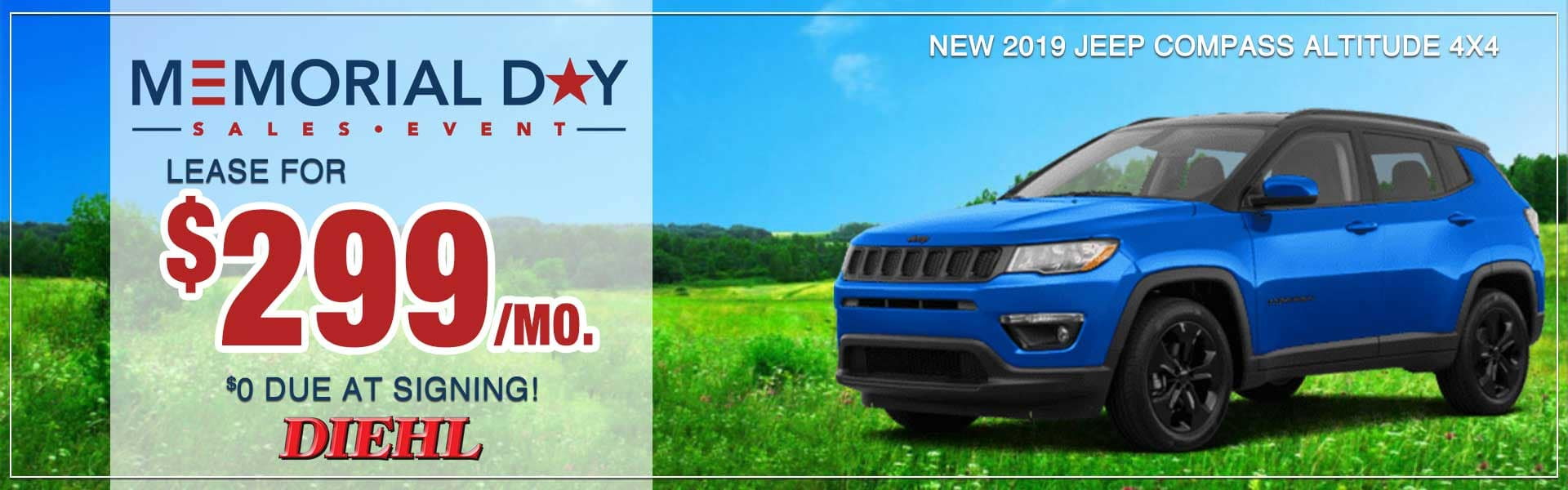 memorial day sales event diehl robinson 2019 jeep compass jeep lease special