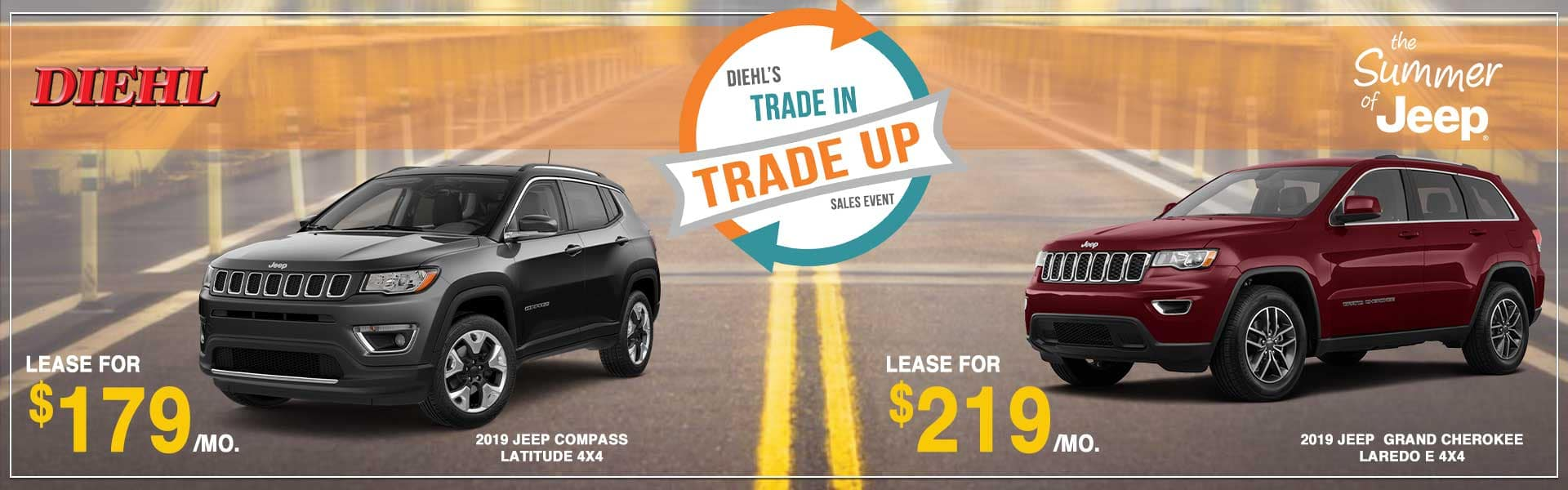 Diehl Automotive Trade In Trade Up Sales Event Summer of Jeep jeep grand cherokee jeep compass lease specials labor day sales event ROBINSON