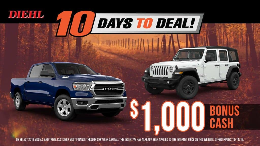 diehl auto Dodge power dollars jeep adventure days ram power days dodge lease special ram lease special Chrysler lease special jeep lease special glimmer of hope breast cancer awareness cars for a cause diehl Robinson PA mopar 10 days to deal bonus cash