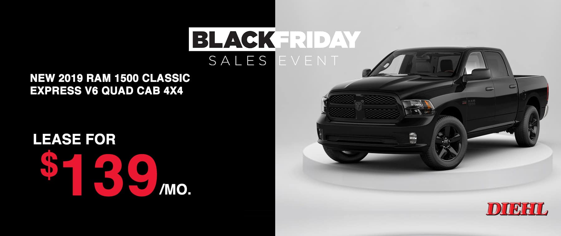 D1910104-RAMCLASSIC Diehl Robinson Chrysler dodge jeep ram Black Friday sales event lease special new vehicle special sale year end savings employee pricing plus