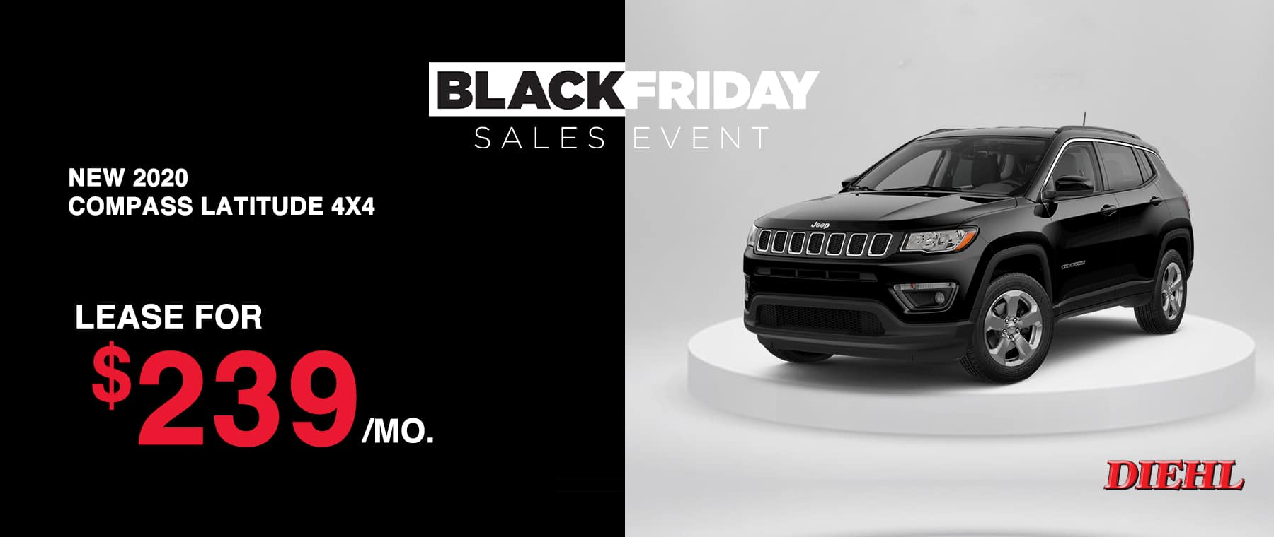 J200903-2020JeepCompass Diehl Robinson Chrysler dodge jeep ram Black Friday sales event lease special new vehicle special sale year end savings employee pricing plus