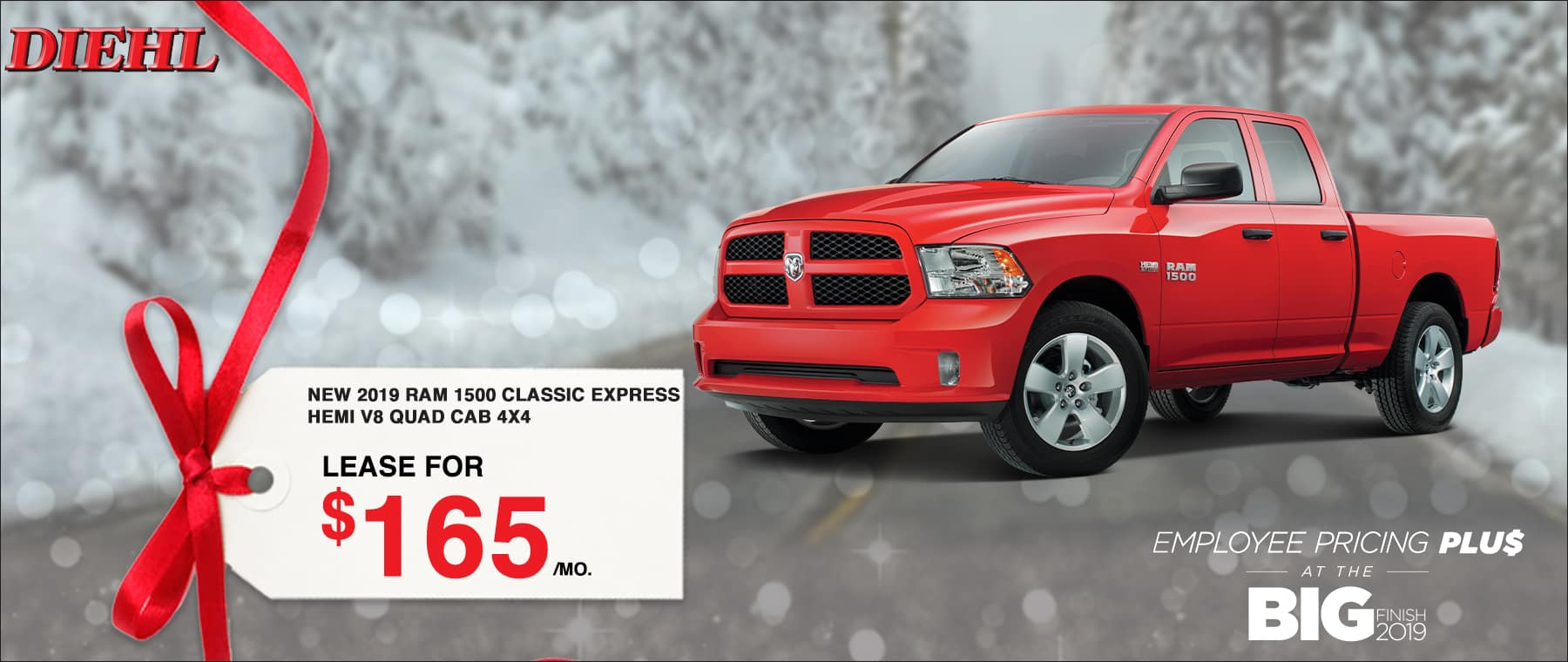 B4219_2019RAM1500CLASSIC Big finish event employee pricing plus Chrysler dodge jeep ram diehl of Robinson pa diehl automotive lease special buy now savings discount