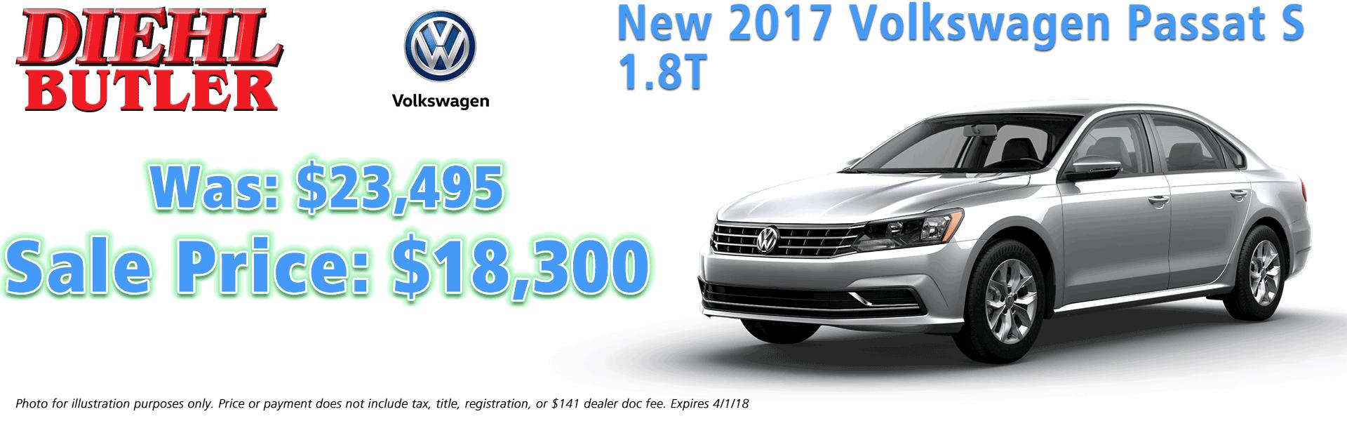 2017 volkswagen passat s 1.8t diehl volkswagen serving butler, mars, cranberry, pittsburgh
