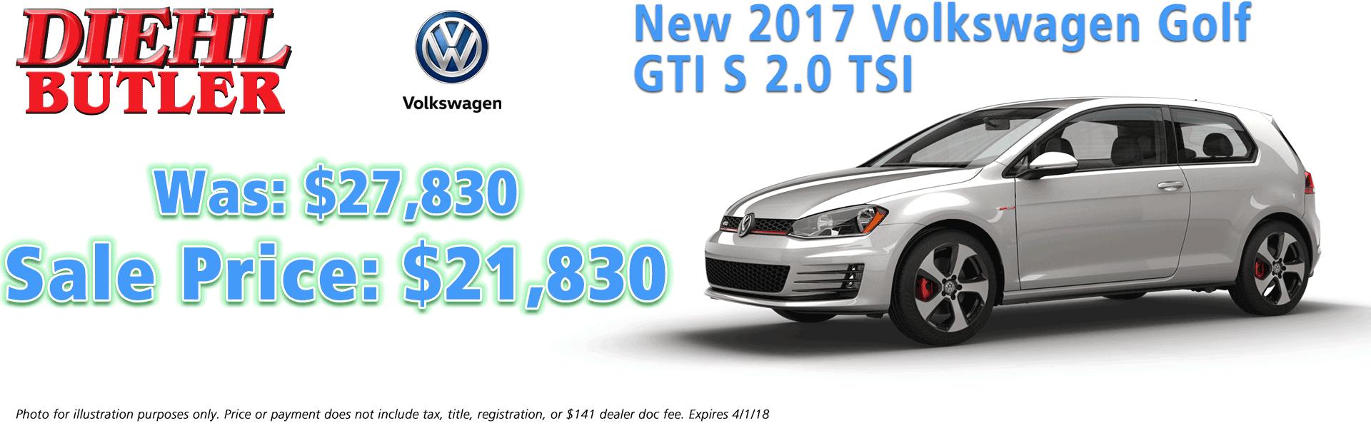 2017 volkswagen gti 2.0 tsi diehl volkswagen serving butler, mars, cranberry, pittsburgh