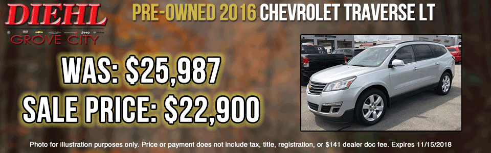 Diehl of Butler pre-owned vehicles sales service parts collision used new Pre-Owned 2016 Chevrolet Traverse LT AWD