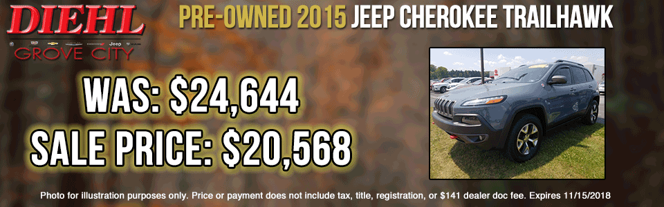 Diehl of Butler pre-owned vehicles sales service parts collision used new Pre-Owned 2015 Jeep Cherokee Trailhawk 4WD