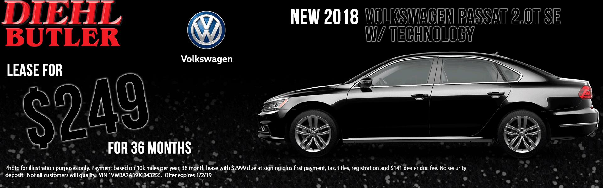 Diehl Volkswagen of Butler pa. New used parts service. New 2018 Volkswagen Passat 2.0T SE FWD 4D Sedan