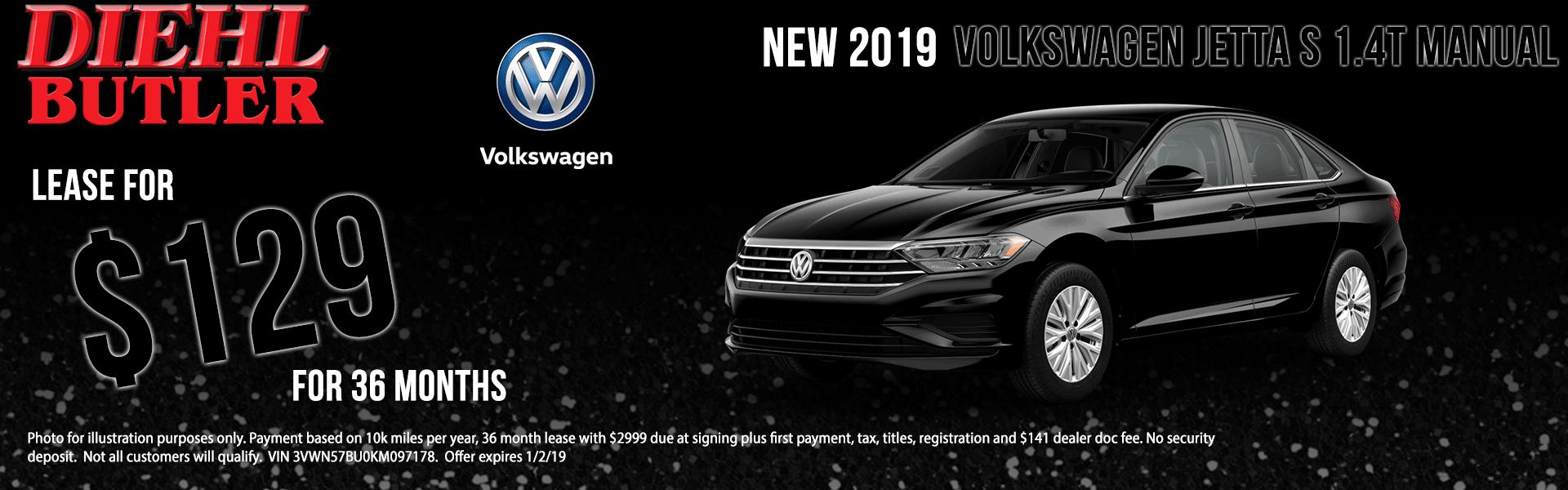 Diehl Volkswagen of Butler pa. New used parts service. New 2019 Volkswagen Jetta 1.4T S FWD 4D Sedan