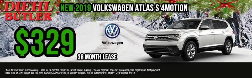 Diehl Volkswagen of Butler, PA new and used vehicle sales, service, parts, and accessories. Chrysler jeep dodge ram toyota volkswagen New 2019 Volkswagen Atlas S AWD