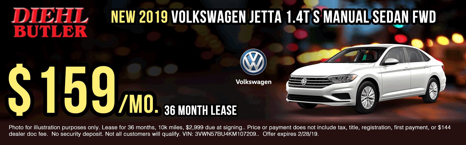 Diehl volkswagen of butler. New, used, body shop, parts, accessories. New 2019 Volkswagen Jetta 1.4T S FWD 4D Sedan