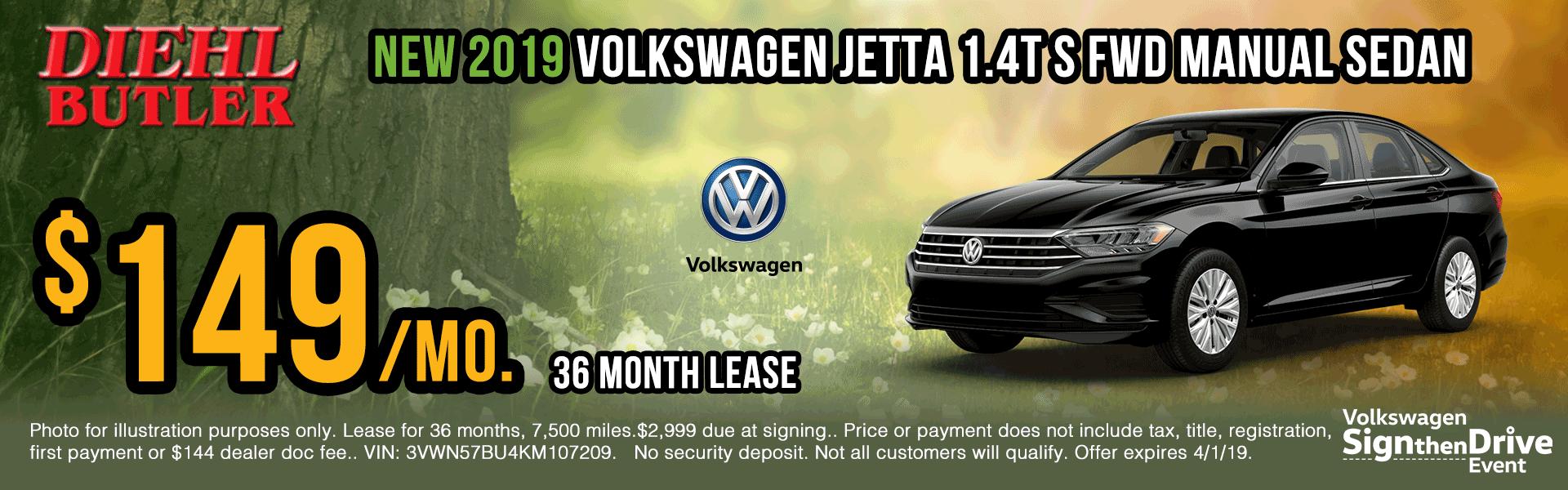 V190112-vw-jetta-manual-sedan sign then drive event Volkswagen specials diehl auto Diehl vw new vehicle specials butler pa
