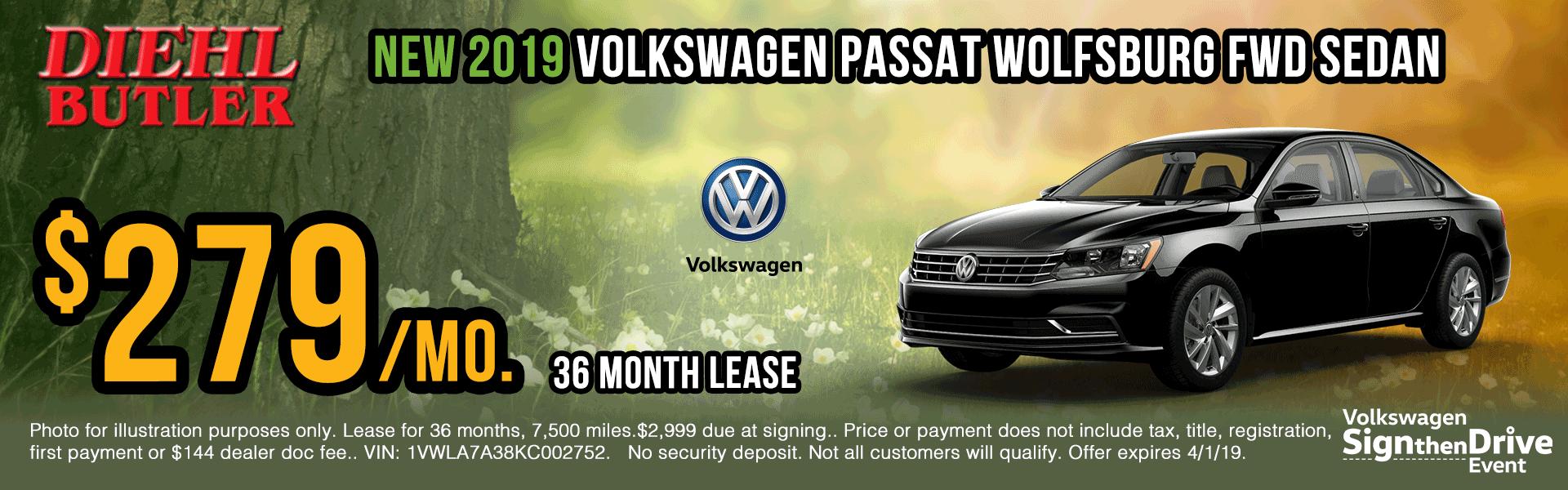 V191102-vw-passat-wolfsburg sign then drive event Volkswagen specials diehl auto Diehl vw new vehicle specials butler pa