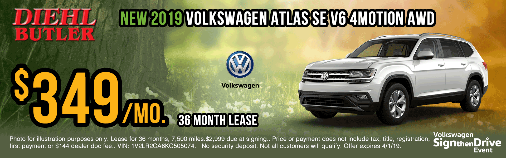 V191106-vw-atlas-4motion sign then drive event Volkswagen specials diehl auto Diehl vw new vehicle specials butler pa