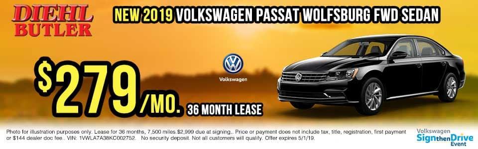 V191102-2019-passat-wolfsburg-big sign then drive event Volkswagen specials diehl auto Diehl vw new vehicle specials butler pa