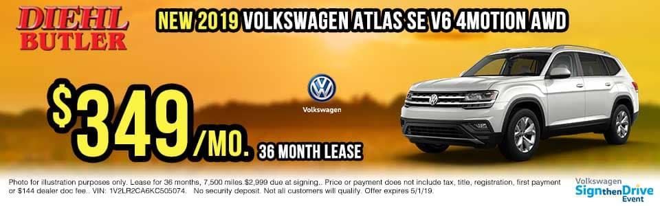 V191106-volkswagen-atlas-4motion sign then drive event Volkswagen specials diehl auto Diehl vw new vehicle specials butler pa